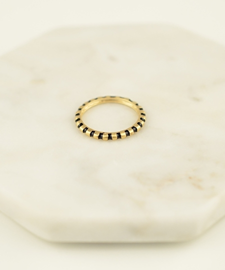 Rosie Gold Leaf Ring - Black