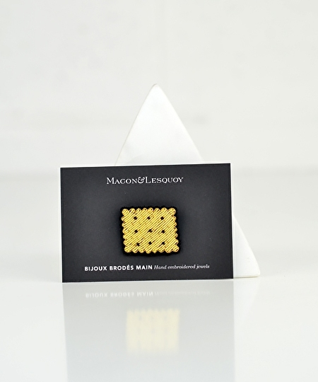 French Biscuit Embroidered Pin