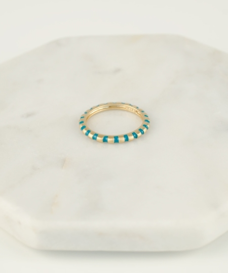 Rosie Gold Leaf Ring - Turquoise