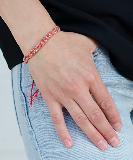 Luxury Gri Gri Rose Gold Bracelet - Red