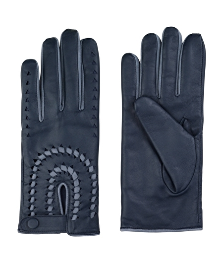 Hale Leather Gloves - Navy Blue