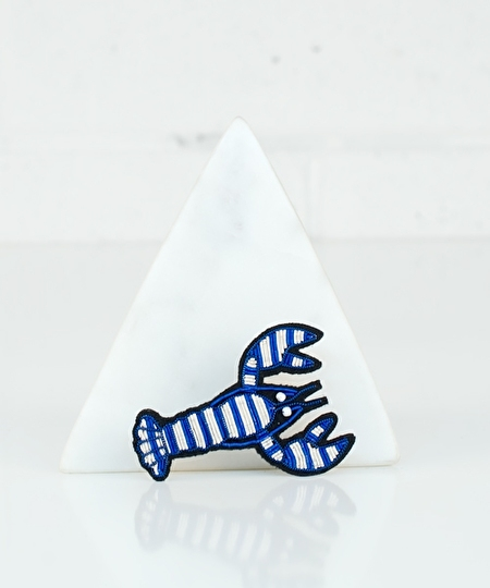 Blue Striped Lobster Embroidered Pin