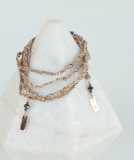 Luxury Gri Gri Bracelet / Necklace - Rose Gold / Aqua
