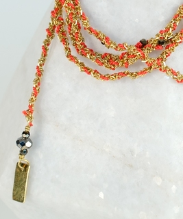 Luxury Gri Gri Bracelet / Necklace - Gold / Coral
