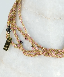 Luxury Gri Gri Bracelet / Necklace - Gold / Pink
