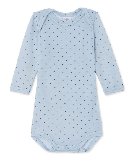 Pyrenees Wool & Cotton Bodysuit - Blue Stars