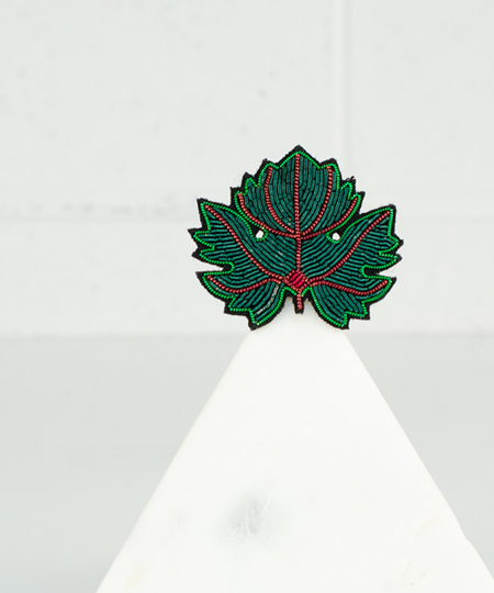 Vine Leaf Embroidered Pin