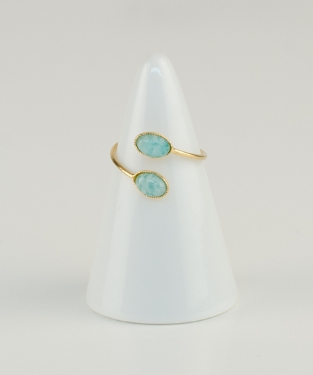 Cabochon Crossed Ring - Amazonite