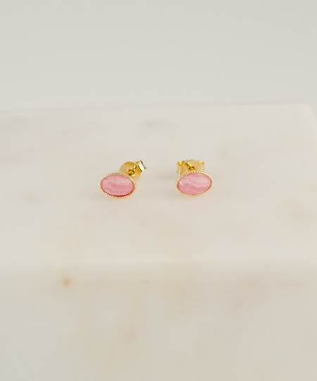 Cabochon Earrings - Rhodochrosite