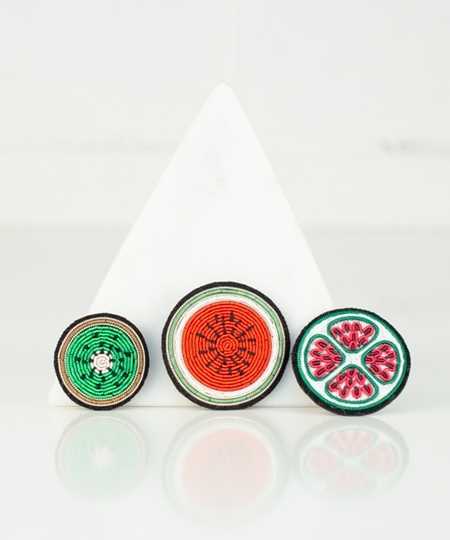 Eat Your Fruits ! Set Embroidered Pins