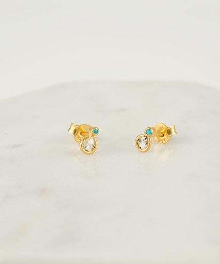 Tia Turquoise & Diamond Earrings
