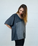 Pia Patchwork Top - Stone