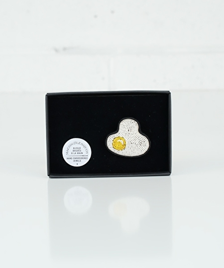 Fried Egg Embroidered Pin