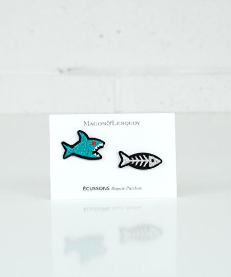 Shark vs Fish Bone Iron Patches