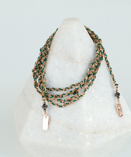 Luxury Gri Gri Bracelet / Necklace - Rose Gold / Green