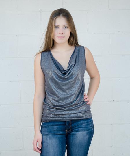 Drape Linen Tank Top - Silver